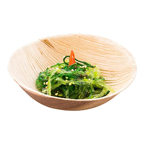 Indo Palm Leaf Round Bowl, Palm Leaf Bowl - 3.8 Inch, 4 Ounce - Brown - 100ct Box - Restaurantware ()