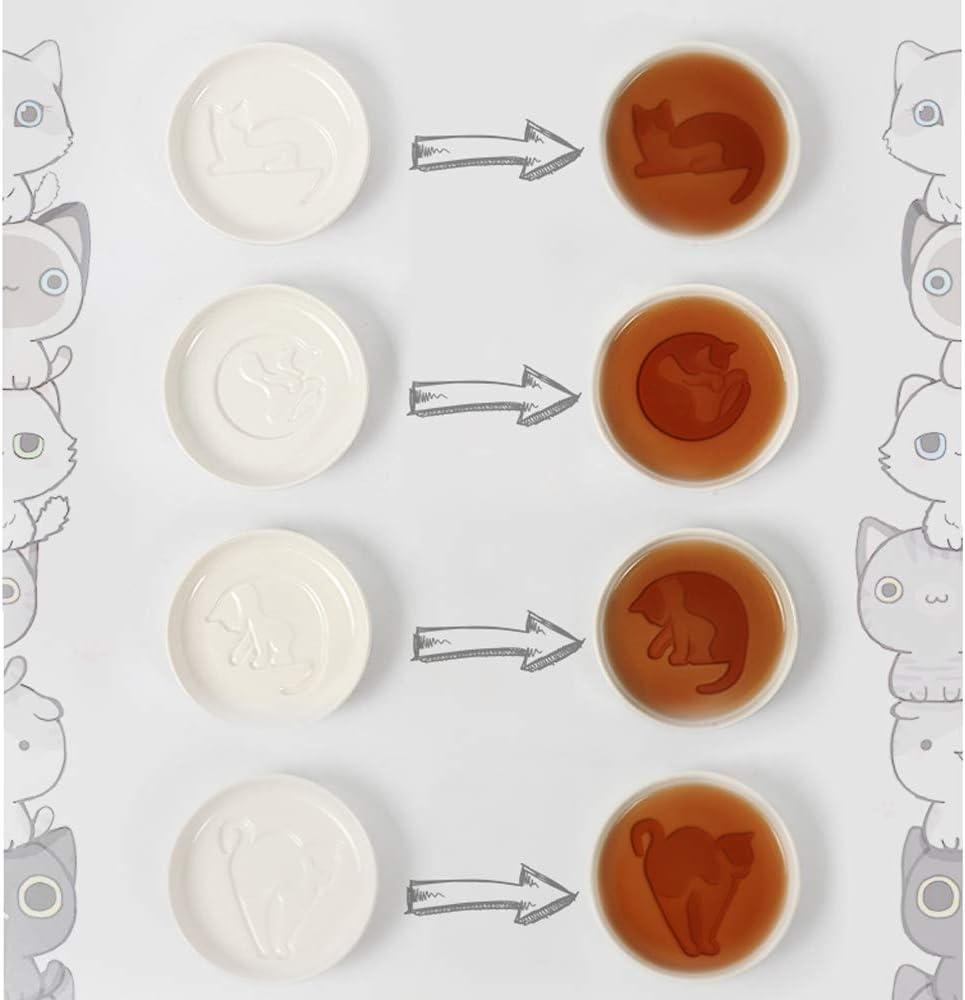 Sushi Soy Meow Porcelain Set di Piccoli Dischi Set di 4 Yalucky Piatti Sushi in Ceramica per Gatti Super Carino,Ciotoline da Snack