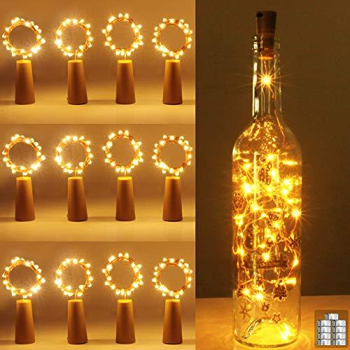 [12 pack] flesverlichting, kolpop kurkverlichting voor wijnflessen, 2m 20 LED koperdraad kerstverlichting voor feestjes…