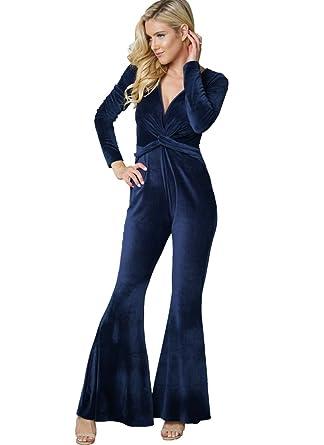 c2c17000309 Bodycon4U Women s Velvet Knot Deep V Neck Long Sleeve Wide Leg Bodycon Club Jumpsuit  Romper Dark