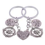 2PCs Best Friends No Matter Where Compass Charms Keyring KeyChain Set Heart Best Friend Gifts for Teen Girls Boys BFF Friendship (Keychain Set)