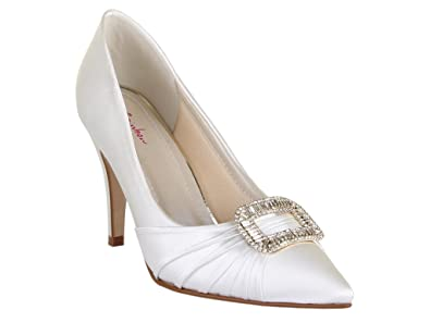 c7624304b7f Rainbow Club Samantha - Ivory Satin High Heel Bridal Shoes with Diamante  Buckle - UK Size