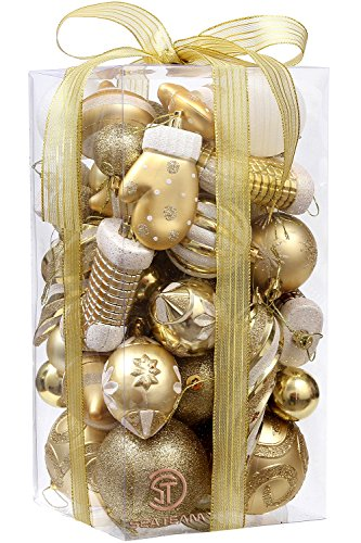 Sea Team 50-Pack Assorted Shatterproof Christmas Ball Ornaments Set Decorative Baubles Pendants with Premium Gift Wrapping Ribbon for Xmas Tree (Gold)