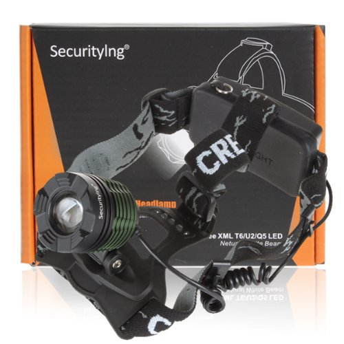 SecurityIng LB-XL T6 500Lm Rechargeable Waterproofing Zoomable Headlamp & Charger(18650 Battery Not Included)