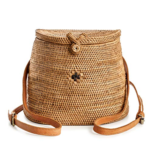Rattan Backpack for Women - Handmade Wicker Woven Purse Handbag Circle Boho Bag Bali (Basket Purse Handmade)