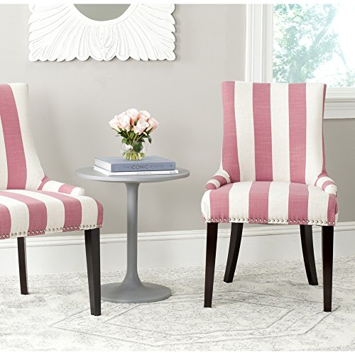 Safavieh Mercer Collection Lester Dining Chair, Pink and White Stripe, Set of 2 (Pink Stripe Luxe)