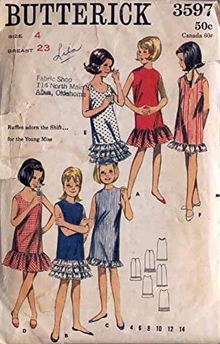 Butterick 3597 Vintage 1960s Girls Ruffled Shift Pattern Sz (Ruffled Shift)