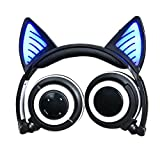 Wireless Bluetooth Cat Ear Headphones,SNOW WI Flashing Glowing Cosplay Fancy Cat Headphones Foldable Over-Ear Earphone with LED Flash light for iPhone 7/6S/iPad,Android Mobile Phone,Macbook (Black)