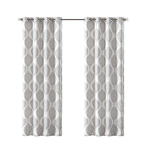 Comfort Spaces Room Darkening Curtains for Bedroom - Miya Basketweave Damask Printed 4 Pieces Window Curtains Pair Tie Back Window Set - Silver White - 42x95 Inch Panel - Grommet Top