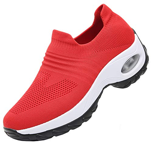 RomenSi Women's Fashion Sock Platform Sneakers Tennis Walking Shoes Lightweight Casual SportsSlip on Air Cushion Wedge Loafers Red 6 B(M) US (Shoe Wedge Red Women Sneaker In)