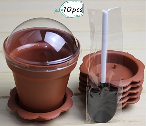 (Astra shop 10 PCS Flower Potted Shape Jelly Cake Yogurt Mousse Cups with Lid and Shovel(caramel ))