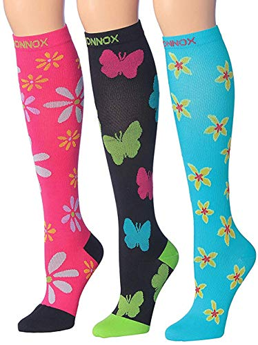 (Ronnox Women's 3-Pairs Colorful Patterned Graduated Compression Socks, CP11)