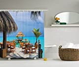 picture for restaurant - Ambesonne Coastal Decor Collection, Cafe on the Beach Wooden Dock and Sky Party Restaurant Romance Scene Picture Print, Polyester Fabric Bathroom Shower Curtain, Peru Beige Blue Teal