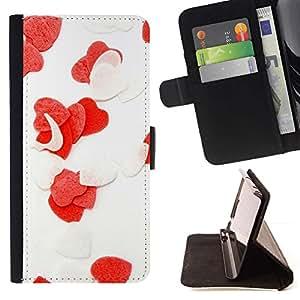 For Huawei Ascend P8 Lite (Not for Normal P8) Case , Corazón del amor Flores- la tarjeta de Crédito Slots PU Funda de cuero Monedero caso cubierta de piel