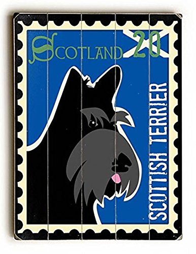Terrier Postage Stamp - Scottish Terrier Postage Stamp Wood Sign 14x20 (36cm x 51cm) Planked