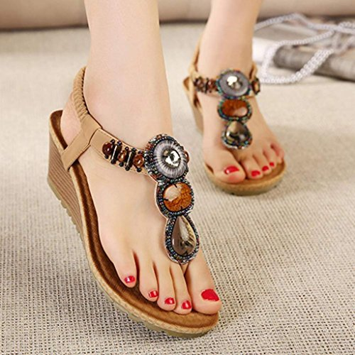 Bovake Summer Women Sandals, | Vintage Beach Beads Sandals | Bohemia High Heels Women Ankle Shoes Flat Wedges Shoes Lovely Footwear Flip Flop Sandal | No Rubbing | Toes Comfortable To Wear Khaki