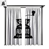 covered porch ideas bybyhome Extra Wide Outdoor Curtain Quote Coffee Maker Silhouette with Coffee is Always a Good Idea Grungy Typography W120 xL96 Suitable for Front Porch,pergola,Cabana,Covered Patio