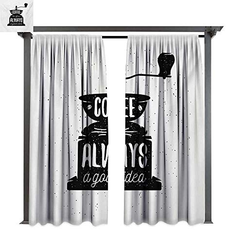 bybyhome Extra Long Outdoor Curtain Quote Coffee Maker Silhouette with Coffee is Always a Good Idea Grungy Typography W120 xL84 Suitable for Front Porch,pergola,Cabana,Covered Patio
