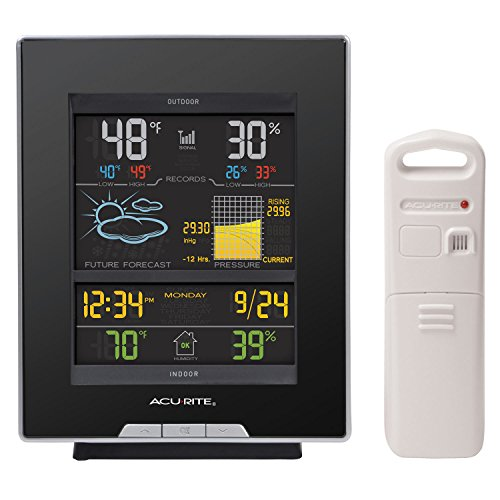 Acu Rite Plastic Thermometer - AcuRite 02008A1 Color Weather Station with Forecast, Temperature, Humidity, Barometric Pressure, Intelli-Time Clock-Full Color