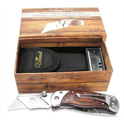 Premium-Quality-Hand-Made-Dual-Blade-Utility-Knife-By-Vermont-Folding-Box-Cutter-With-Two-Blades-Wooden-Handle-Stainless-Steel-Body-Bonus-Carrying-Pouch-5-Extra-Blades-Included