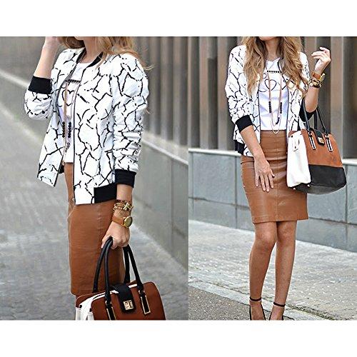 Stampa 2 Fiori Abbigliamento Bianco M Hibote Primavera Camicette Cappotti Sfera Sportive Autunno Giacche Nero 2xl Esterni Base Donna Moda Beige Indumenti Casual Blu BYwvq0