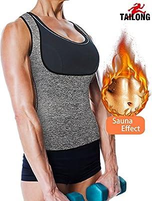 Women's Sport Hot Sweat Slimming Neoprene Shirt Vest Body Shapers for Weight Loss No Zipper Gray Sauna Tank Top Shirt