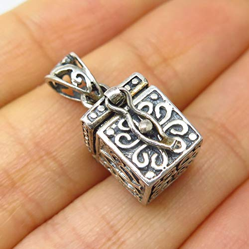 Vintage Signed 925 Sterling Silver Religious Box Locket Charm Pendant by Wholesale Charms