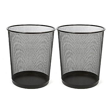 Xena Small Wastebasket Waste Bin Round Steel Mesh 10.5 Inch Black Office Bathroom Trash Can Trashcan