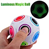 Rokment Luminous Magic Rainbow Ball Fun Cube Fidget Puzzle Education Toy For Kids/Adults (A)