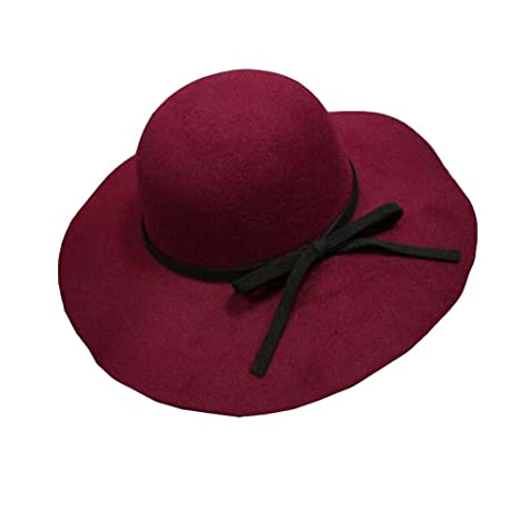 Amazon.com  DRAGON SONIC Red Floppy Hat Bowler Hat Wide Brim Hat Black  Bowknot  Sports   Outdoors 32af5b271f7