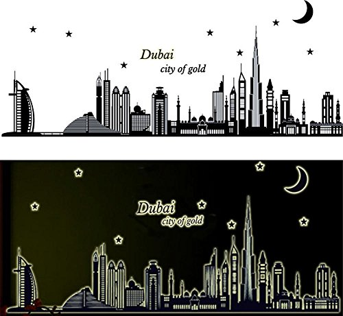 BIBITIME Glow in the Dark Wall Decals Dubai City of gold Moon Star Night Luminous Stickers Home Kid Room Decor for Baby Bedroom Nursery Noctilucent Sticker
