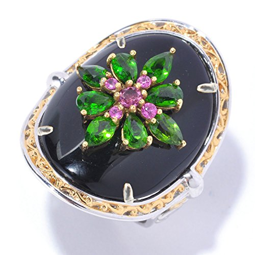 (Michael Valitutti Palladium Silver Black Onyx with Chrome Diopside, Pink Tourmaline and Sapphire Cocktail Ring)