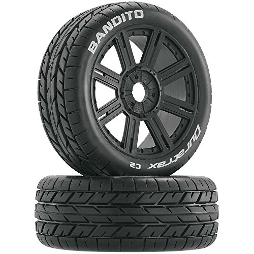 Buggy Tire (Duratrax Bandito 1:8 Scale RC Buggy Tires with Foam Inserts, C2 Soft Compound, Mounted on Black Wheels (Set of 2))