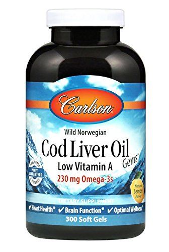 Carlson Labs Cod Liver Oil, Low Vitamin A, 230mg Omega-3, 300 Count