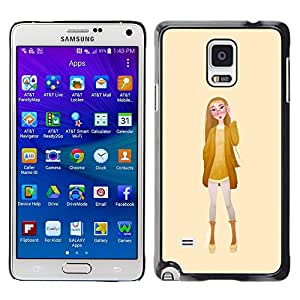 A-type Colorful Printed Hard Protective Back Case Cover Shell Skin for Samsung Galaxy Note 4 IV / SM-N910F / SM-N910K / SM-N910C / SM-N910W8 / SM-N910U / SM-N910G ( Girl Glasses Fashion Yellow Woman )