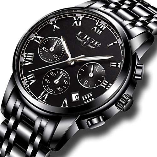 LIGE Men's Watches Luxury Fashion Dress Chronograph, used for sale  Delivered anywhere in USA