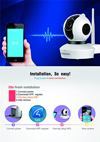 CosCool IP Camera 1080P Wireless,Wifi Surveillance Camera Network Security Webcam,Microphone Inside,Two Way Audio,Onekey Wifi Fast Setting,Night Vision,ONIVF,Pan/Tilt Movement Baby Pet Video Monitor by CosCool (Image #4)