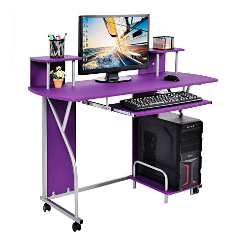 Rolling Computer Desk PC Laptop Desk Pull Out Tray Home Office Workstation New by Unknown