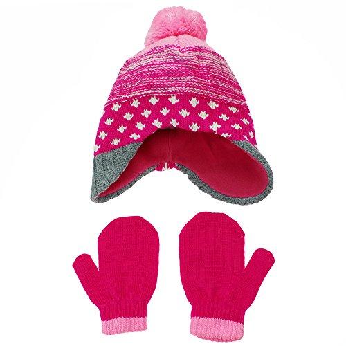 Fleece Peruvian Hat - Hanes Toddler Girls Fleece Lined Knit Peruvian Winter Hat and Mitten Set Pink Pom Pom
