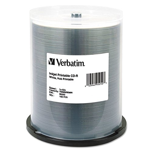 Verbatim CD-R 700MB 52X White Inkjet Hub Printable Recordable Media Disc - 100pk Spindle ()