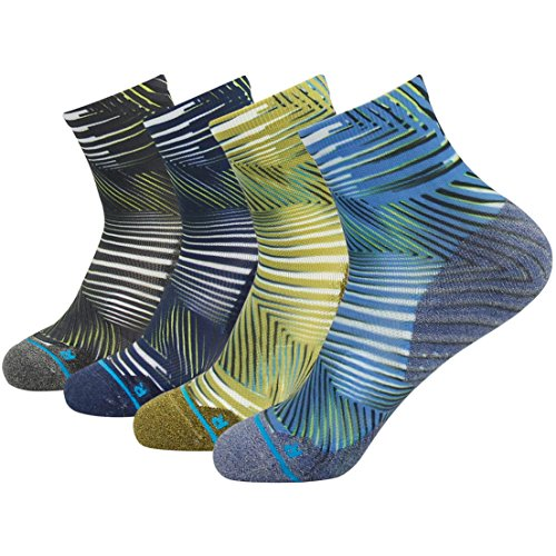 Women Running Socks Ankle, Huso Unisex 4 Pair Digital Print Pattern Multicolor Dry Fit High Performance Cushion Wicking Tab Crazy Socks Quarter Novelty Design - Pattern Digital