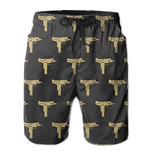 Mens Board Shorts Quick Dry Novelty Gun Prints Bathing Suits For Man's (Tormentor Board Shorts)