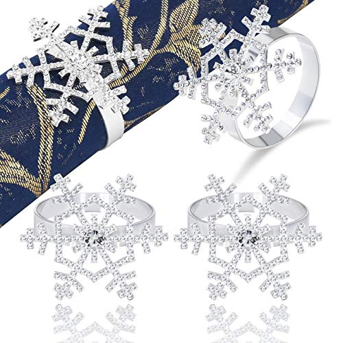 JulyLab Snowflake Napkin Rings Set Silver Rhinestone for Christmas Holiday Wedding Banquet Dinner Decor Favor (style1 Silver Set of 2)