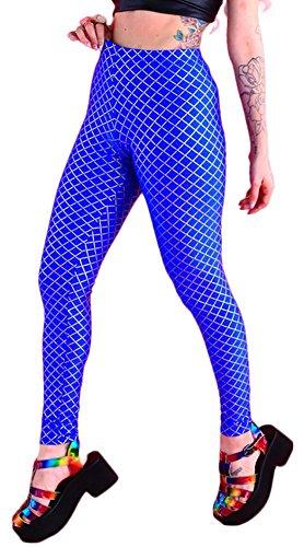 QZUnique Women's Blue Diamond Digital Print Sexy Elastic Leggings Pants
