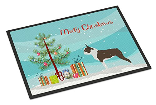 Boston Garden Rug - Caroline's Treasures BB2962MAT Boston Terrier Merry Christmas Tree Indoor or Outdoor Mat, 18
