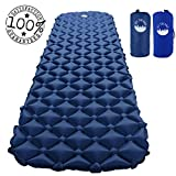 Ultralight Camping Sleeping Pad - Lightweight Inflatable Mat - Air Portable Waterproof Mattress for Traveling, Hiking, Backpacking, Outdoors (Gray Blue)