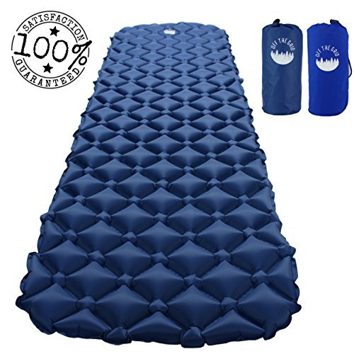 Ultralight Sleeping Pad - Camping Lightweight Inflatable Mat - Air Portable Waterproof Mattress for Traveling, Hiking, Backpacking, Outdoors (Gray Blue)