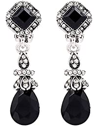 Silver Tone Art Deco Antique Vintage Style Jet Black Onyx Rhinestone Dangle Clip-On Earrings