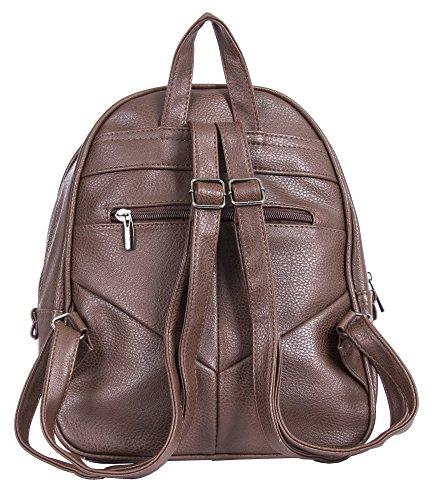 Big Handbag Shop - Bolso mochila de piel sintética para mujer Design 3 - Dark Tan