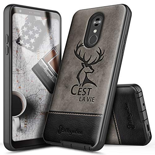 - LG Stylo 4 Case, LG Stylo 4 Plus Case, LG Q Stylus, NageBee Premium [Canvas Fabrics] with Leather Snap-On Heavy Duty Shockproof Dual Layer Hybrid Defender Rugged Durable Case -Deer